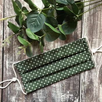 Reusable Handmade Face Covering With Elastic Hoops - Green with White Dots