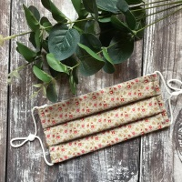 Reusable Handmade Face Covering With Elastic Hoops - Taupe Ditsy