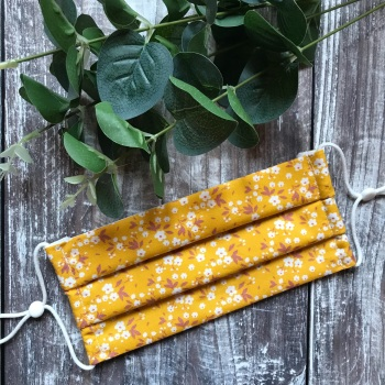 Reusable Handmade Face Covering With Elastic Hoops - Mustard Ditsy
