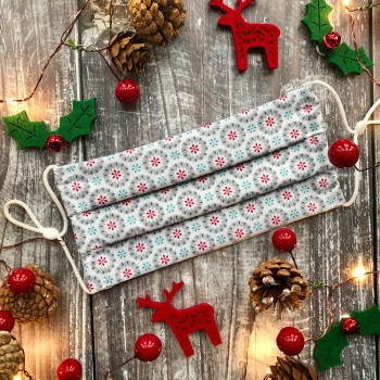 Reusable Handmade Christmas Face Covering With Elastic Hoops - White with Grey Snowflakes
