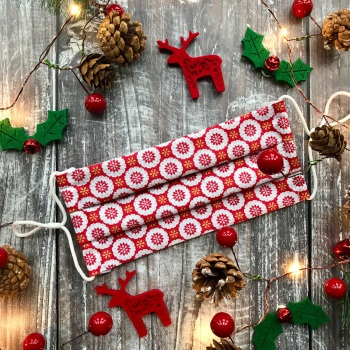 Reusable Handmade Christmas Face Covering With Elastic Hoops - Red with White Snowflakes