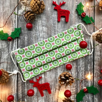 Reusable Handmade Christmas Face Covering With Elastic Hoops - White with Green Snowflakes