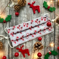 Reusable Handmade Christmas Face Covering With Elastic Hoops - Grey Mr & Mrs Gnome