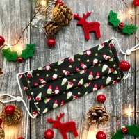 Reusable Handmade Christmas Face Covering With Elastic Hoops - Slate Mr & Mrs Gnome
