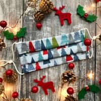 Reusable Handmade Christmas Face Covering With Elastic Hoops - Grey with Blue & Red Christmas Trees