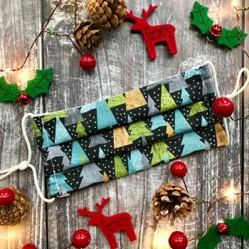 Reusable Handmade Christmas Face Covering With Elastic Hoops - Slate Christmas Trees