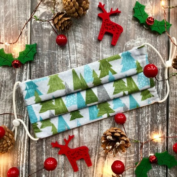 Reusable Handmade Christmas Face Covering With Elastic Hoops - Grey with Green Christmas Trees