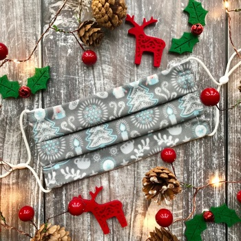 Reusable Handmade Christmas Face Covering With Elastic Hoops - Grey Hygge