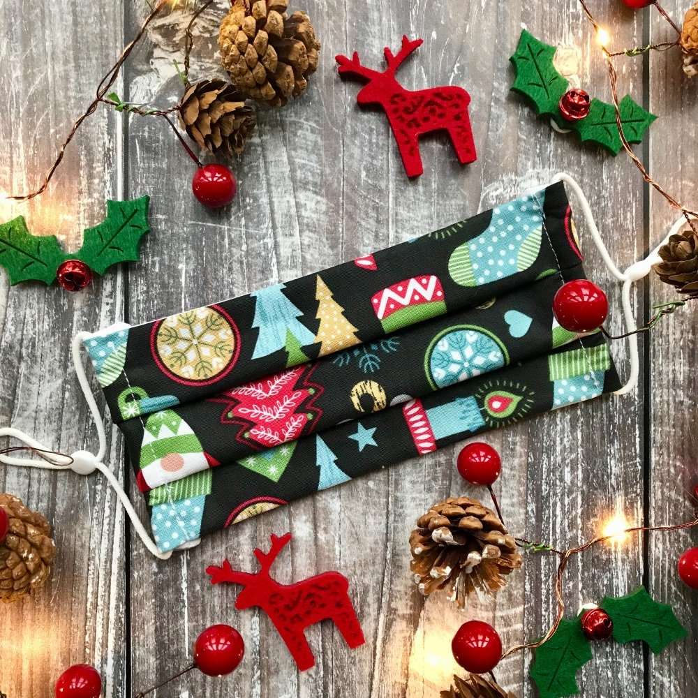 Reusable Handmade Christmas Face Covering With Elastic Hoops - Green Hygge