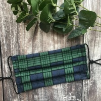 Reusable Handmade Face Covering With Elastic Hoops - Blue and Green Tartan