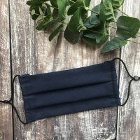 Reusable Handmade Face Covering With Elastic Hoops - Navy Blue
