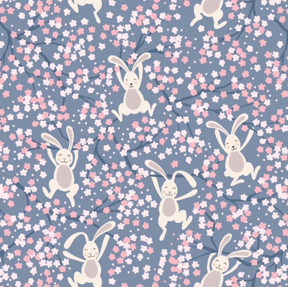 Bunny Hop - Swinging Bunnies on Spring Yellow