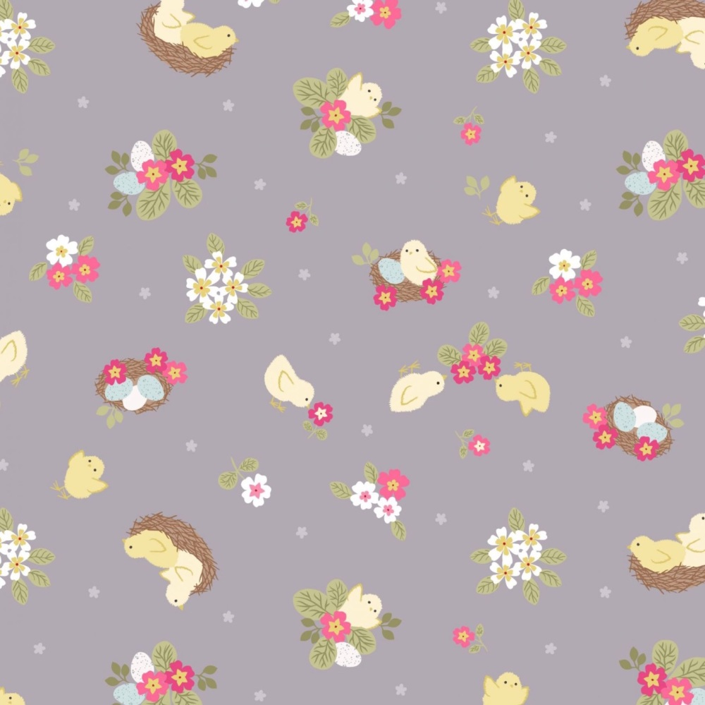Bunny Hop - Mini Bunny Floral on Light Denim Blue