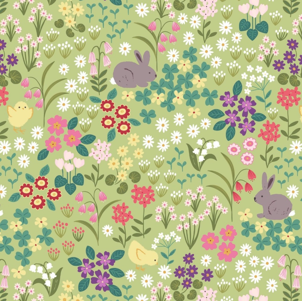 Bunny Hop - Bunny and Chick Floral on Spring Yellow