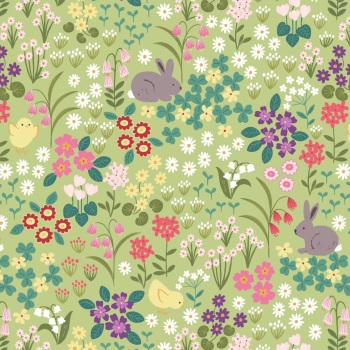 Bunny Hop - Bunny and Chick Floral on Spring Green