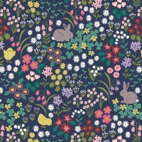Bunny Hop - Bunny and Chick Floral on Dark Blue