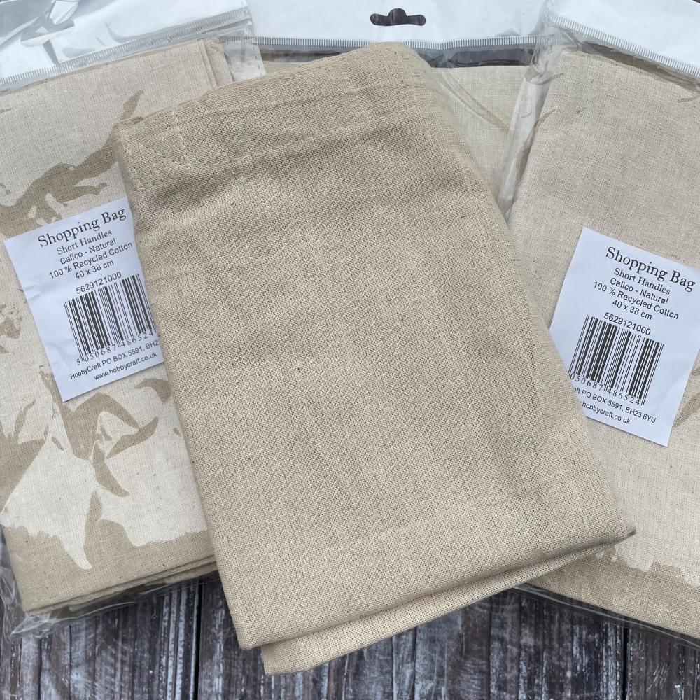 Shopping Bag Blank   Calico   Tote Bag   Short Handles