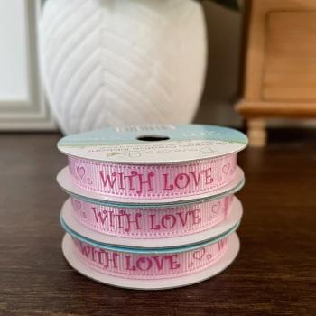 With Love Ribbon | Pink | 2m Reel | Crosgrain Creative Ribbons