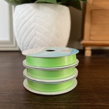 Grosgrain Ribbon | Lime Green | 3m Reel | Grosgrain Creative Ribbons