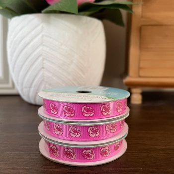 Cerise Pink Ribbon | With Roses | 2m Reel | Grosgrain Creative Ribbons