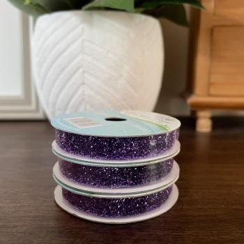 Purple Glitter Ribbon | 1m Reel | Metallic Creative Ribbons