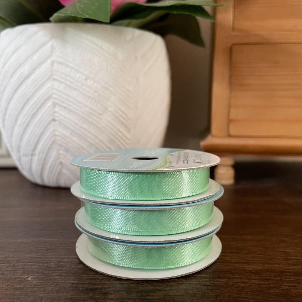 Satin Ribbon   Green   3m Reel   Satin Creative Ribbons