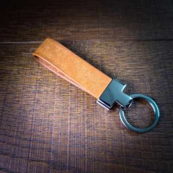Leather Key Fob   Light Brown   Handmade in the UK