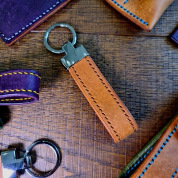 Brown Leather Key Fob   Handmade in the UK
