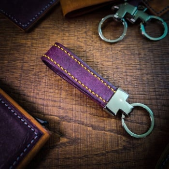 Purple Leather Key Fob   Leather Keyring   Handmade in the UK