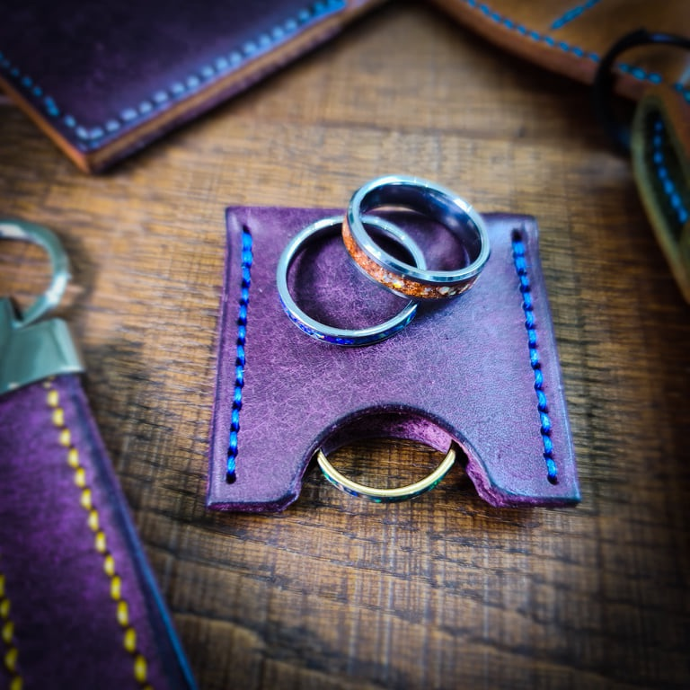 Purple Leather Key Fob | Leather Keyring | Handmade in the UK