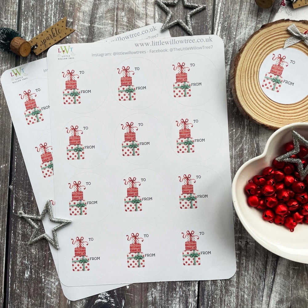 Christmas Gift Labels/Stickers - Stack of Presents