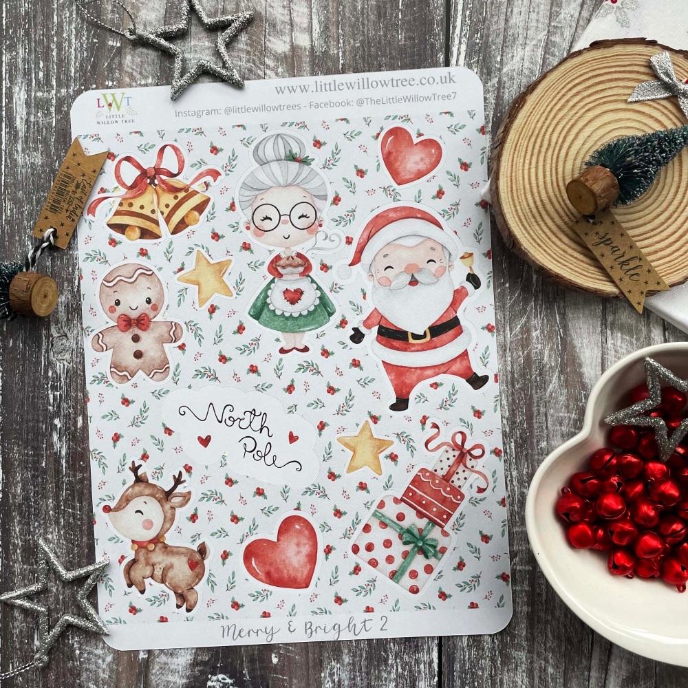 Christmas Sticker Sheet | Merry & Bright 1 | 16 Kiss Cut Stickers