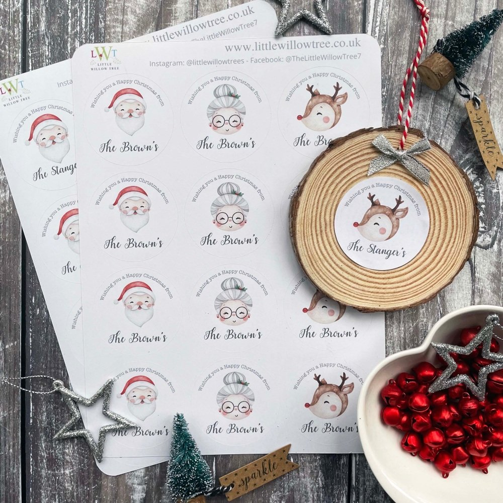 Christmas Gift Labels/Stickers | Father Christmas in Chimney | 12 Labels Pe