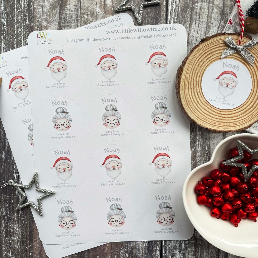 Personalised Christmas Label   Family Name    12 Labels Per Sheet