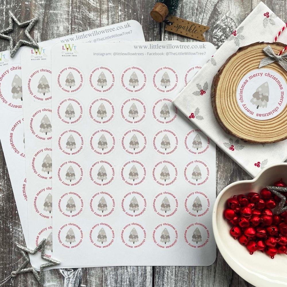 Happy Christmas Post Stickers   Snowflake