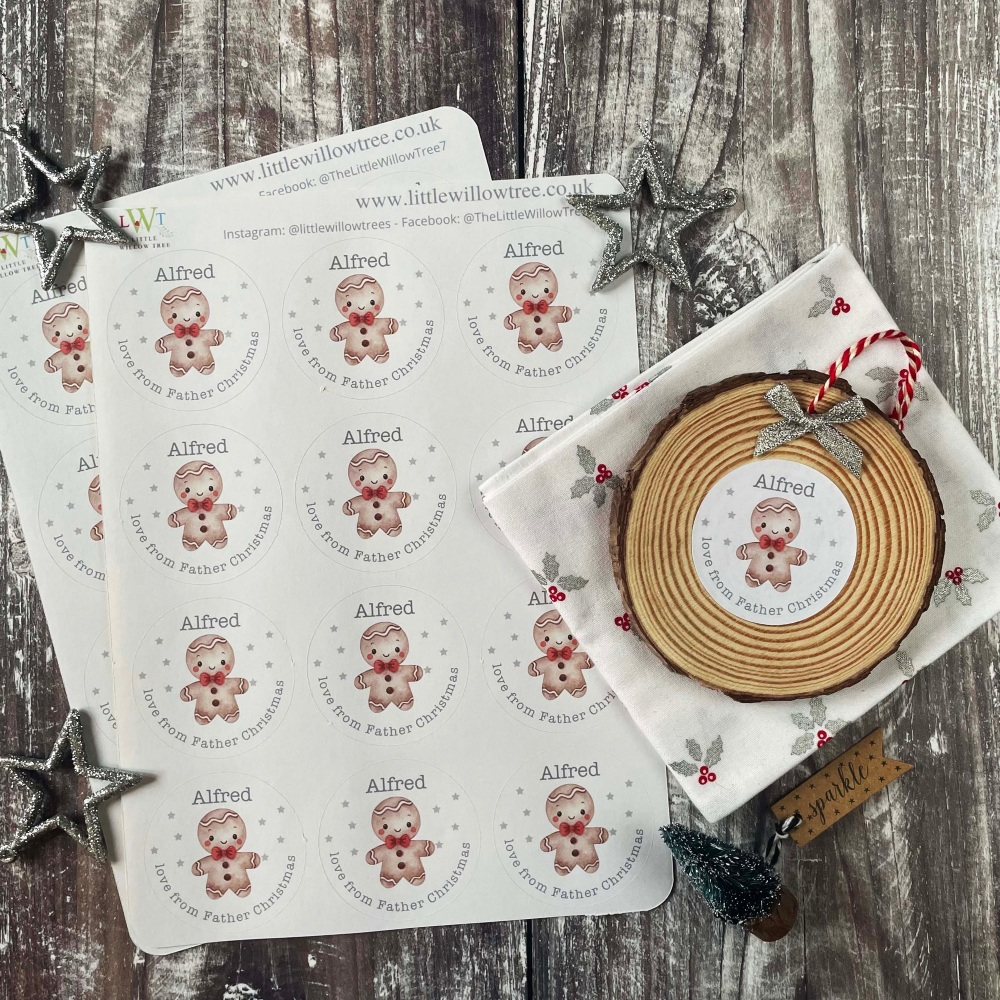 Personalised Gingerbread Man Stickers   Love From Father Christmas