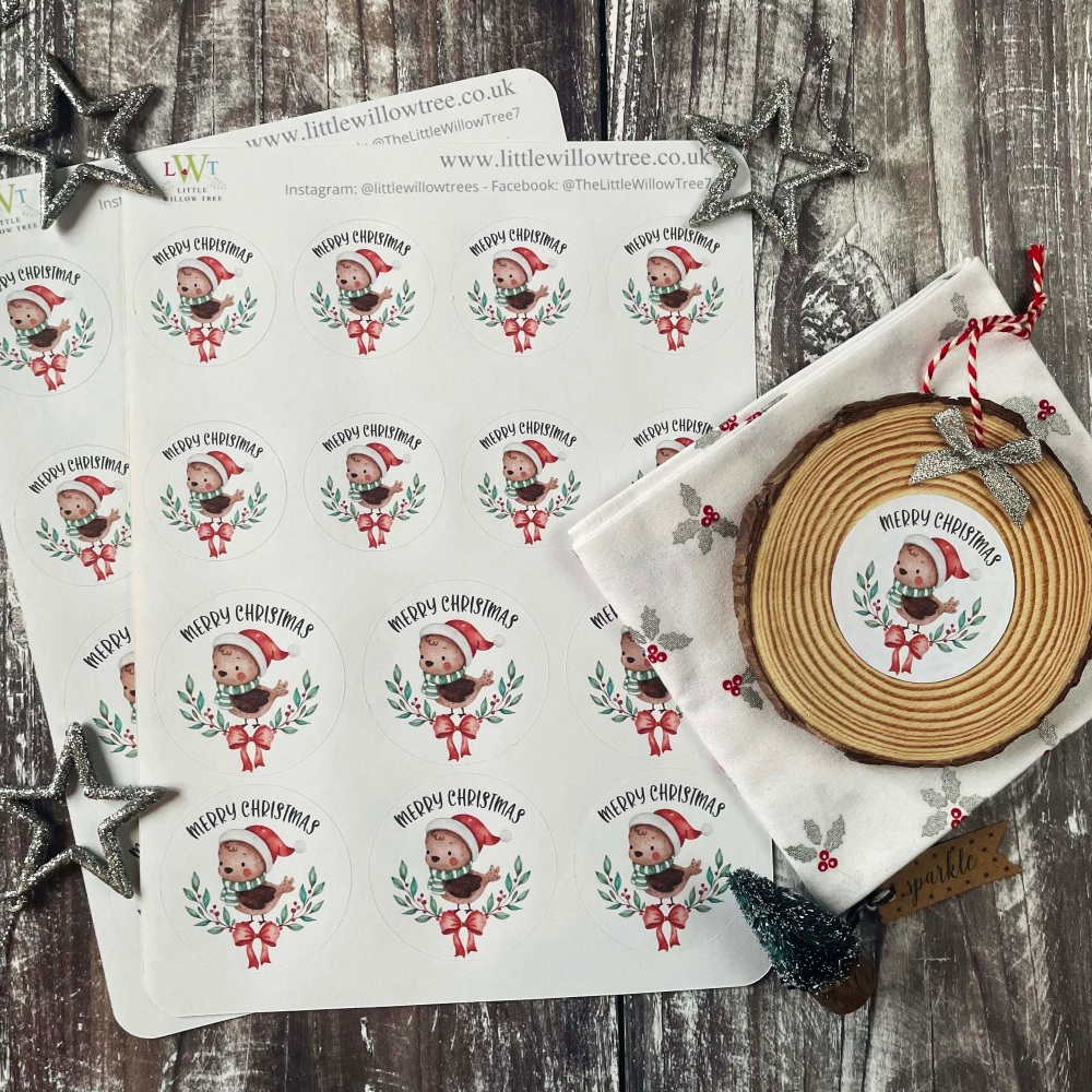 Merry Christmas Robin Stickers   Sticker Sheets