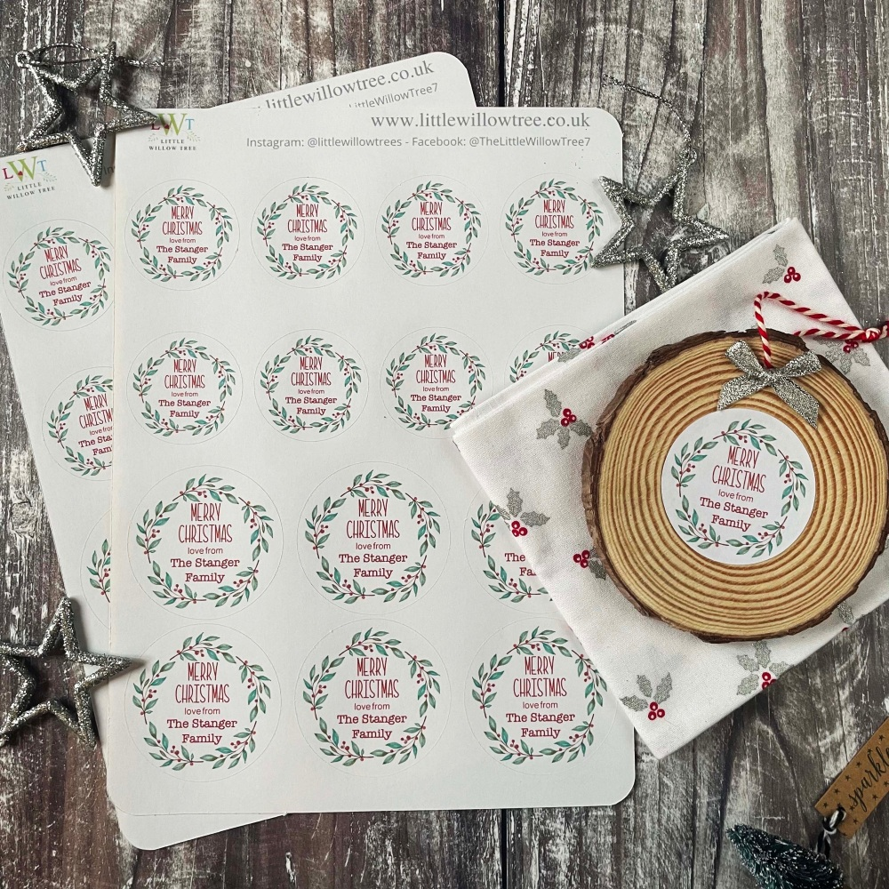 Personalised Christmas Wreath   Family Name   Sticker Sheets