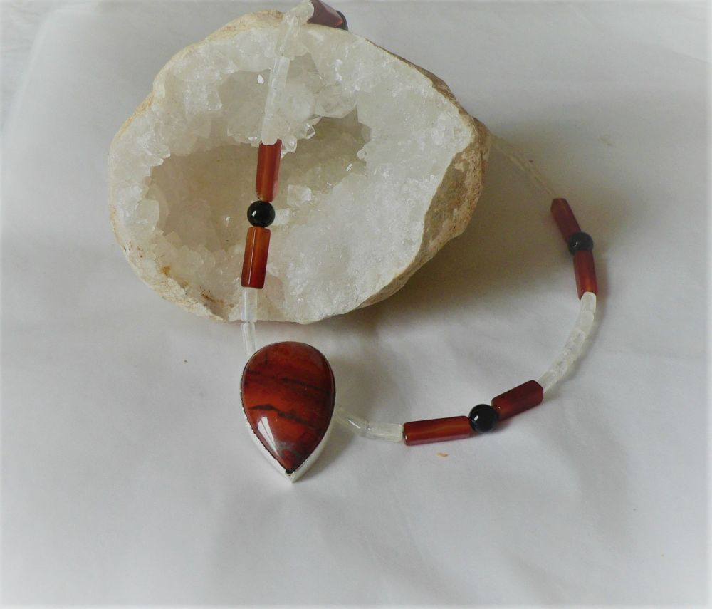 Necklace of red jasper, black onyx, carnelian and moonstone