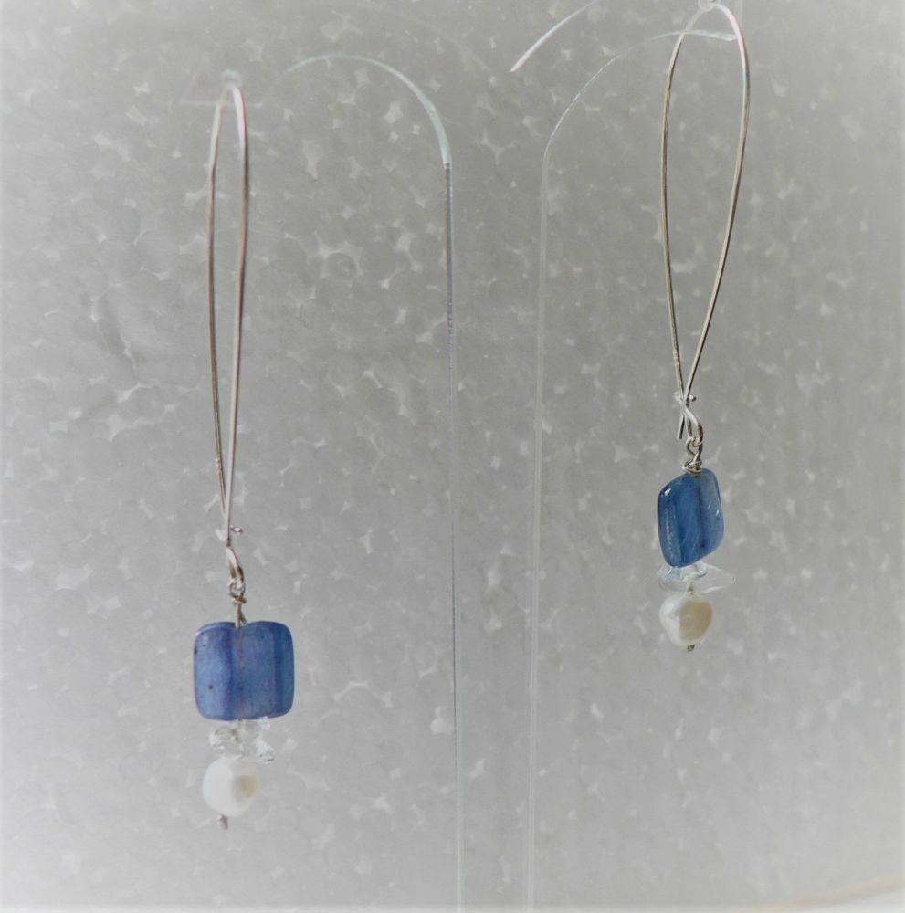 long drop earrings, silver, kyanite, rock crystal