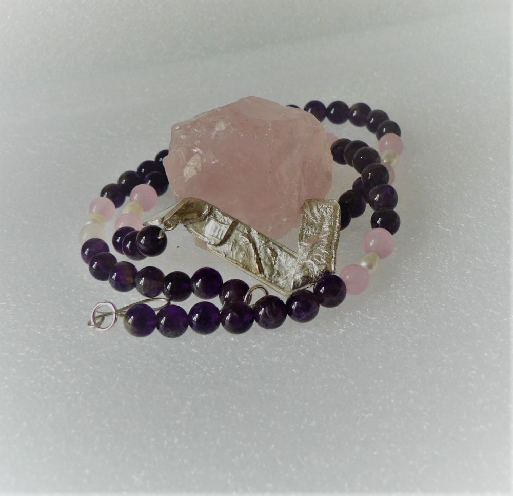 Amethyst, Rose Quartz and Pearl together