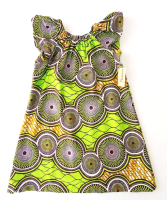 Green Circle Flutter Sleeve Dress (6-7yrs)