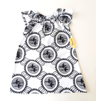 Black & White Flutter Sleeve Dress (5-6yrs)