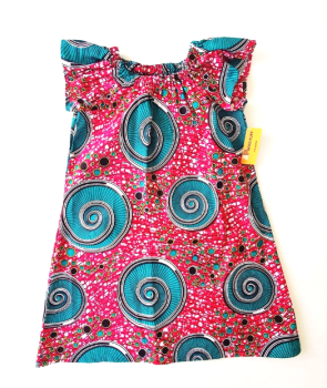 Pink with Green Swirls Flutter Sleeve Dress (6-7yrs)