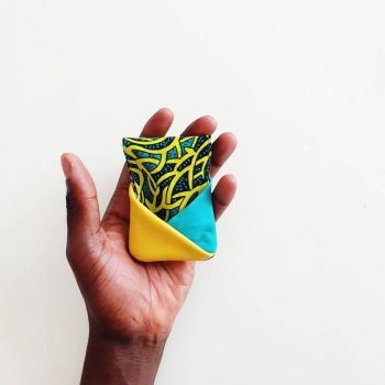 Turquoise, Yellow, Purple - Slim Reversible Leather Card Wallet