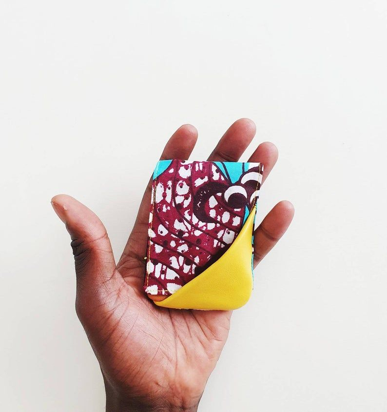 Yellow, Tan, Turquoise - Slim Reversible Leather Card Wallet