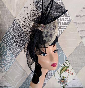 Navy and Cream Polka Dot Percher Style Hatinator