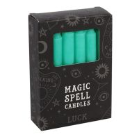 Pack of 12 Green Spell Candles ~ Luck