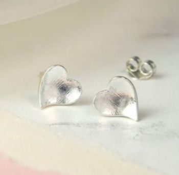 Silver Matt Finish Heart Stud Earrings