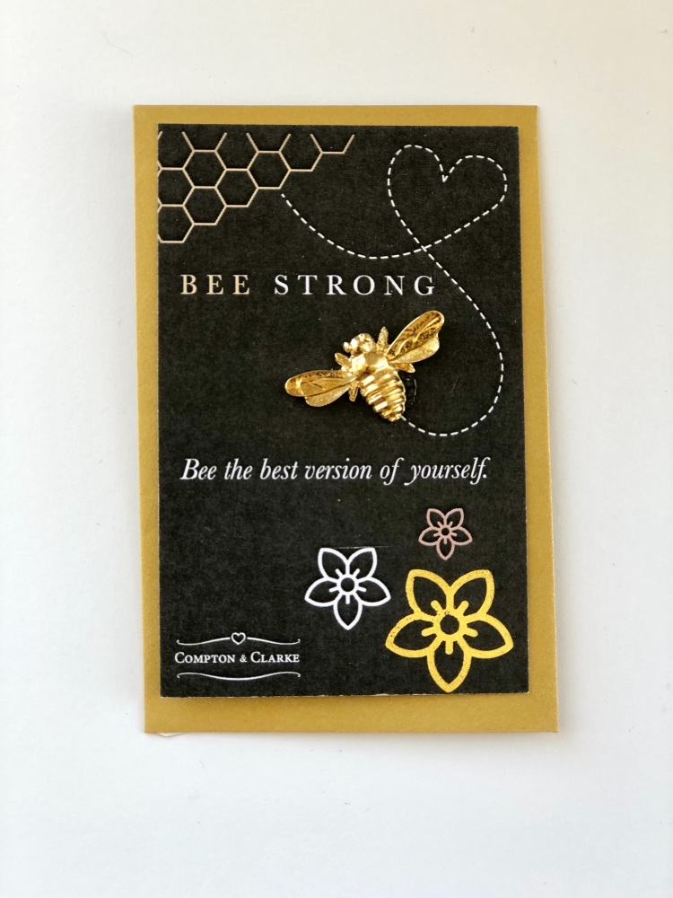 Gold Plated Pewter Bee Strong Token